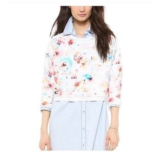 Rebecca Taylor White Floral Poppy Crop Sweater